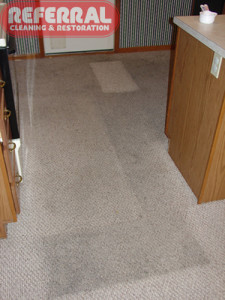 Carpet - 10 Dirty Olefin Berber Kitchen Carpet During Cleaning