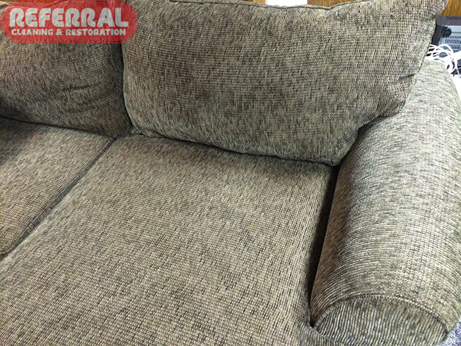 Carpet - Floor Leveler Morter Leaked From Upstaris Onto Sofa Cushion Fabric - After