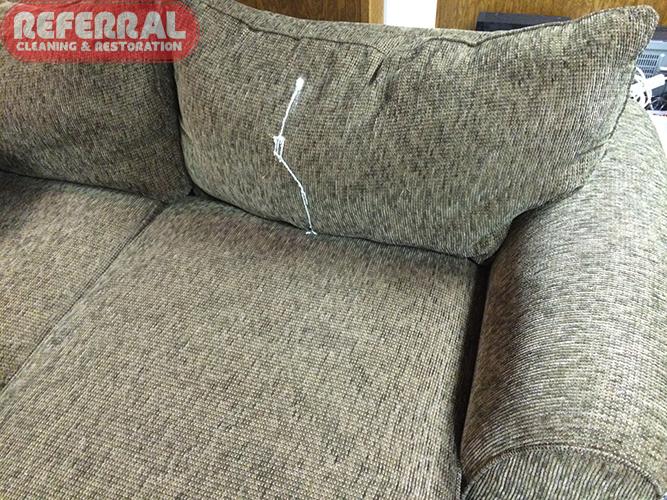 Carpet - Floor Leveler Morter Leaked From Upstaris Onto Sofa Cushion Fabric - Before