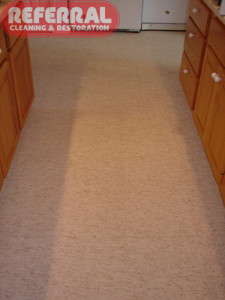 Carpet - Food & Drink Stains Removed From Kitchen Carpet