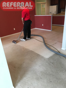 Carpet - Referral Cleaning makes a huge contrast on the dirty carpet in a Fort Wayne Home