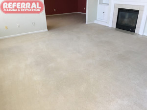 Carpet - Referral restored dirty carpet in Fort Wayne home to like new condition and removed all stains