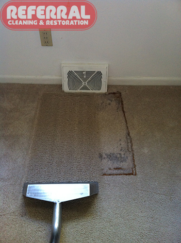 Carpet - Rust Stain being removed from carpet