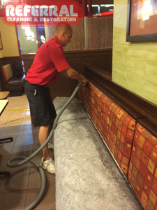 Commercial - Cleaning restaurant booth back fabric