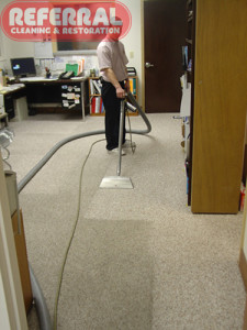 Commercial - Light Colored Olefin Berber Fort Wayne Office Carpet Cleaning Contrast