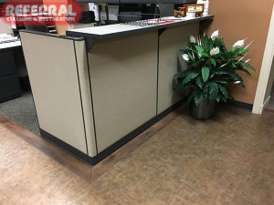 Commercial -  Like new fabric wall parition after Referral cleaned it.