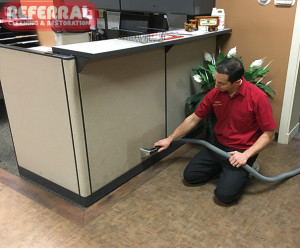Commercial -  Referral Cleaning Spots from fabric wall partition at Fort Wayne Business