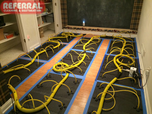 Emergency -  Drying a water damaged wood floor in a fort wayne home
