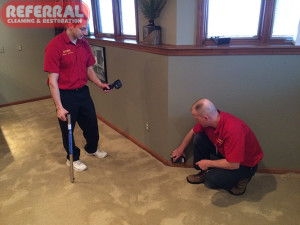 Emergency -  Using moisture meters to inspect after a water damage at a fort wayne home