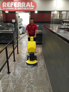 Tile - Scrubbing - Agitating Dirt On Tile & Grout Floor