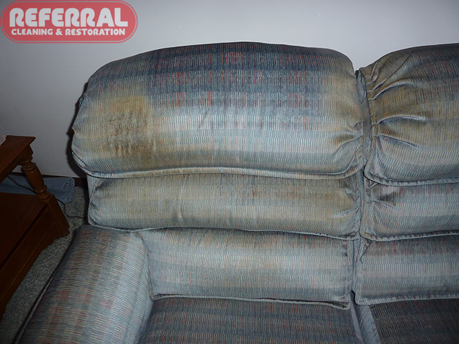 Upholstery - Sofa Headrest Before Cleaning