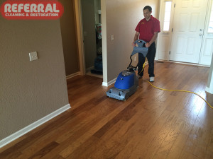 Wood - Cleaning hardwood floor in a Fort Wayne Home